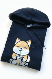 Bubble Tea Boba Shiba Inu Hoodie (navy) - Medium -  2ND CHANCE