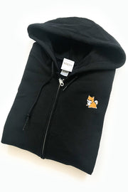 Chubby Tubby Shiba Inu Embroidered Zip-Up Hoodie (black) - Small - 2ND CHANCE