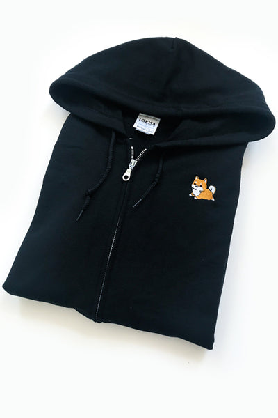 Chubby Tubby Shiba Inu Embroidered Zip-Up Hoodie (black) - CLEARANCE