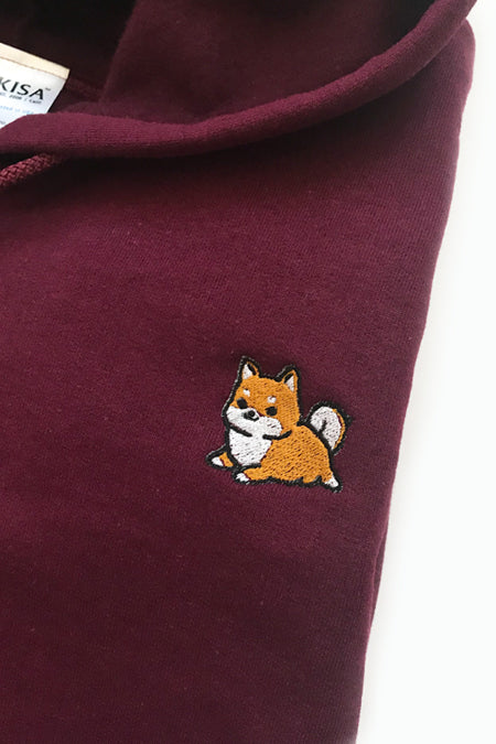 Chubby Tubby Shiba Inu Embroidered Zip-Up Hoodie (maroon) - XLarge - 2ND CHANCE