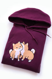 Hungry Love Shiba Inu Hoodie (maroon) - Small - 2ND CHANCE
