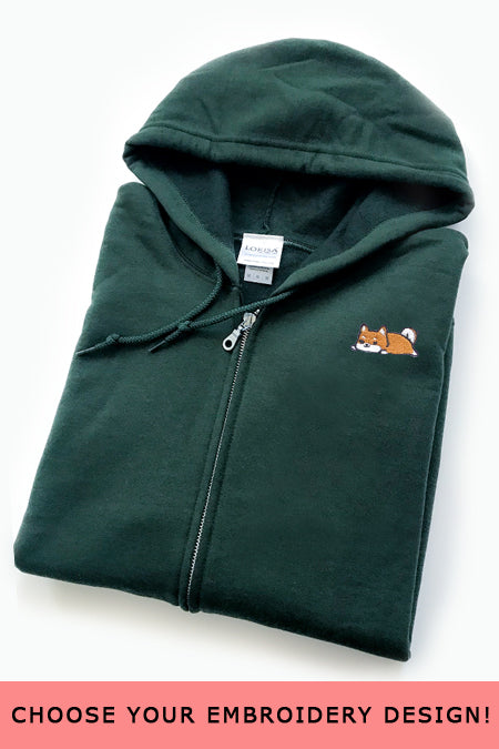 Embroidered Zip-Up Hoodie (forest green) - Medium - SAMPLE SALE