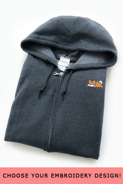 Embroidered Zip-Up Hoodie (Dark Heather) - Medium - SAMPLE SALE