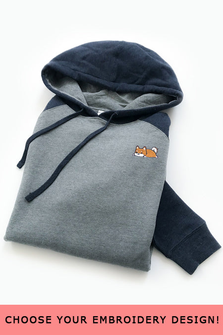 Embroidered Raglan Hoodie (Navy) - Small - SAMPLE SALE