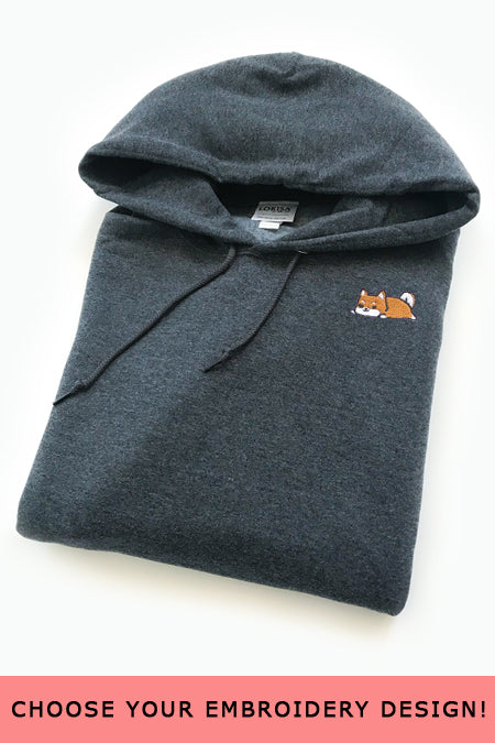 Embroidered Hoodie (Dark Heather) - Large - SAMPLE SALE