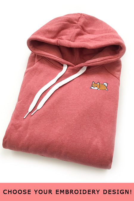 Embroidered Hoodie (coral) - Small - SAMPLE SALE