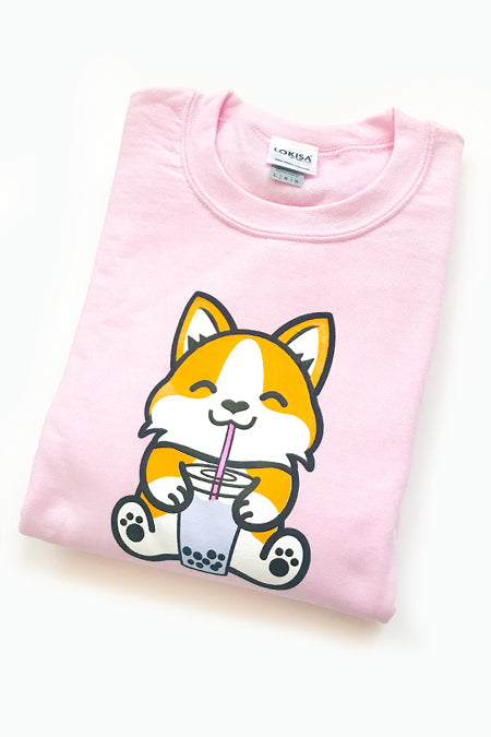 Bubble Tea Boba Corgi Sweatshirt (lightpink) - Large - 2ND CHANCE