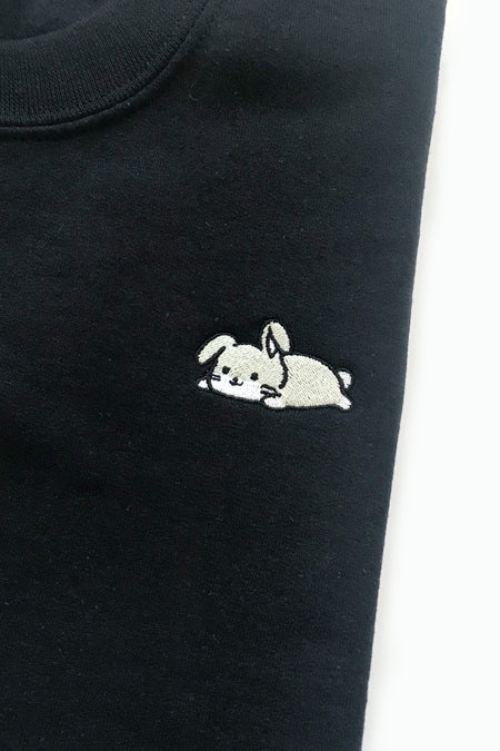 Relaxing Bunny Embroidered Sweatshirt (black) - Medium - 2ND CHANCE