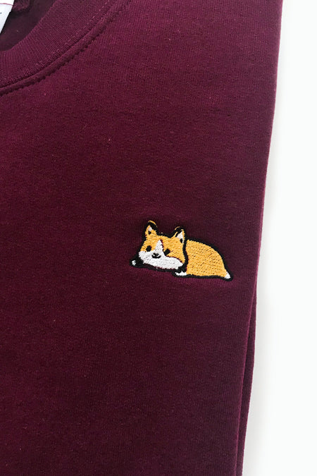 Relaxing Corgi Embroidered Sweatshirt (maroon) - Medium - 2ND CHANCE