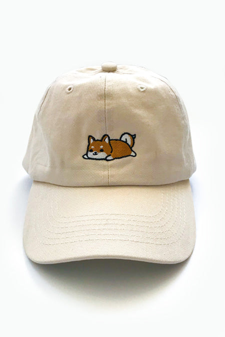 Relaxing Red Shiba Dad Cap - Light Beige - 2ND CHANCE