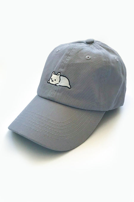Relaxing Ice Bear/ Polar Bear Dad Cap - Light Grey - SAMPLE SALE