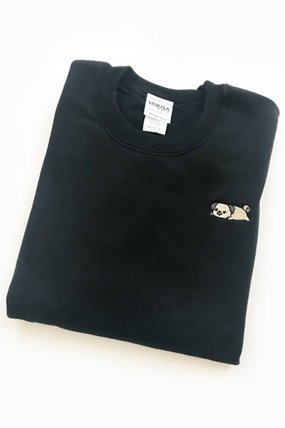 Relaxing Pug Embroidered Sweatshirt (black) - CLEARANCE
