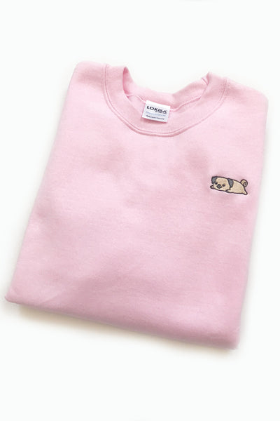 Relaxing Pug Embroidered Sweatshirt (lightpink) - CLEARANCE