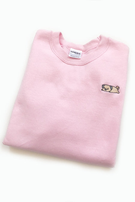 Relaxing Pug Embroidered Sweatshirt (lightpink) - Medium - 2ND CHANCE