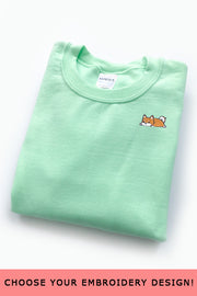 Embroidered  Sweatshirt (Mint Green) - Small - 2ND CHANCE