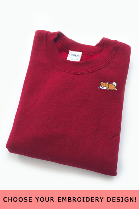Embroidered  Sweatshirt (Cherry Red) - Small - SAMPLE SALE