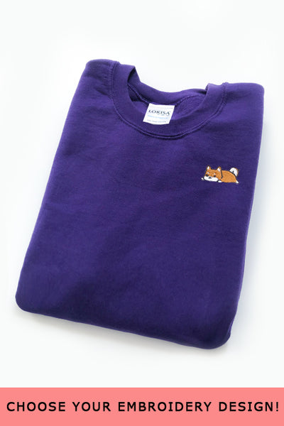 Embroidered  Sweatshirt (Purple) - Medium - SAMPLE SALE