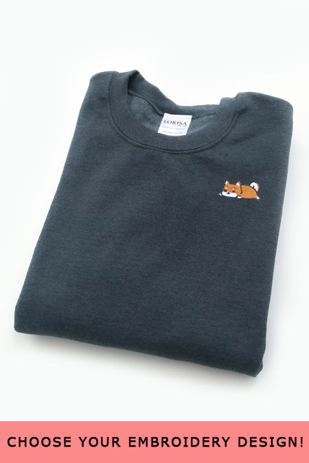 Embroidered  Sweatshirt (Dark Heather) - Medium - SAMPLE SALE