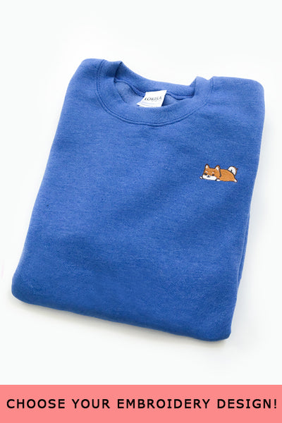 Embroidered  Sweatshirt (Heather Royal Blue) - CLEARANCE