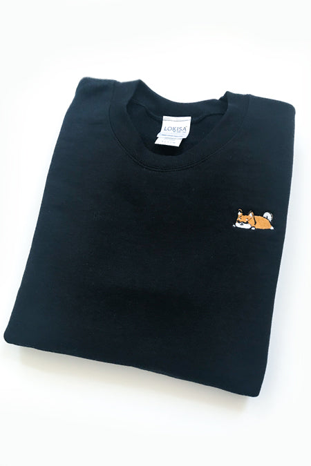 Relaxing Shiba Inu Embroidered Sweatshirt (black) - Small - 2ND CHANCE