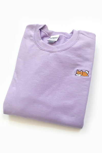 Relaxing Shiba Inu Embroidered Sweatshirt (orchid) - CLEARANCE