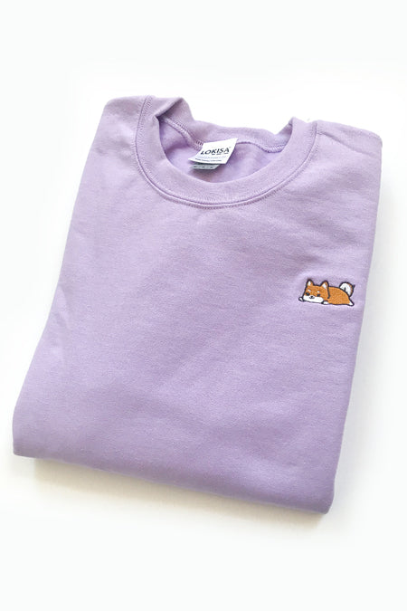Relaxing Shiba Inu Embroidered Sweatshirt (orchid) - Medium -  2ND CHANCE