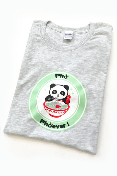 Pho Phoever Panda T-Shirt - Light Grey - CLEARANCE