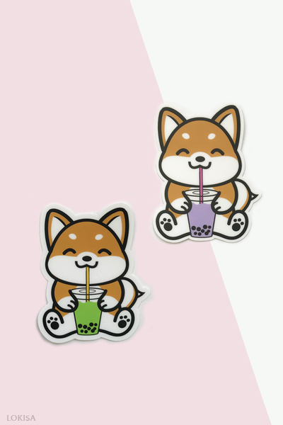Bubble Tea Boba Shiba Inu Vinyl Sticker