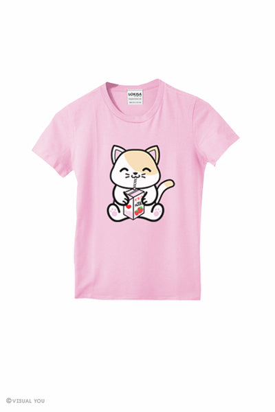 Strawberry Milk Box Kitty T-Shirt (Kids)
