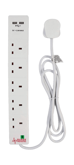 Multi-plug extension lead with USB