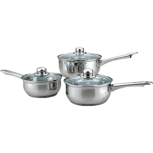 Stainless Steel 3 Piece Saucepan Set