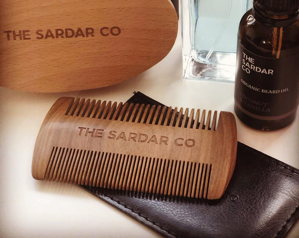 the sardar co beard comb is made from sandalwood
