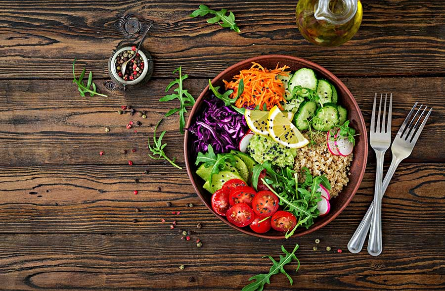 bowl of healthy food on table