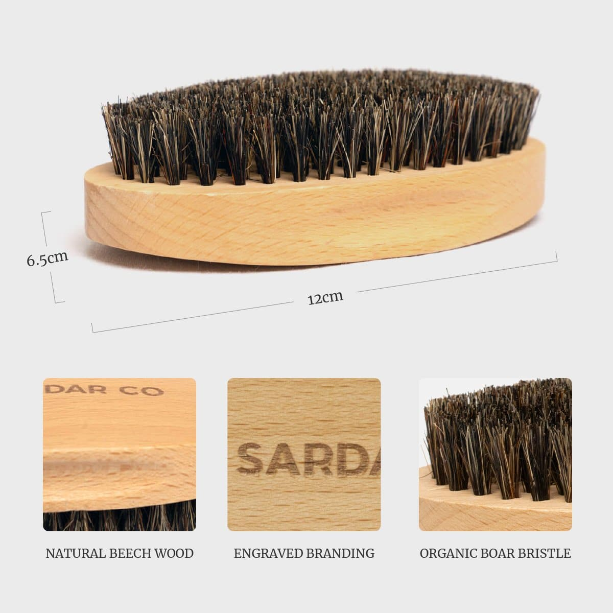 beech wood beard brush details
