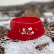 Load image into Gallery viewer, silipint ricochet red foldable dog bowl with snow