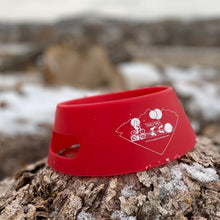 Load image into Gallery viewer, silipint ricochet red foldable dog bowl on stump
