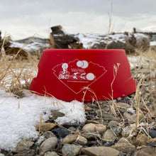 Load image into Gallery viewer, silipint ricochet red foldable dog bowl on rocks
