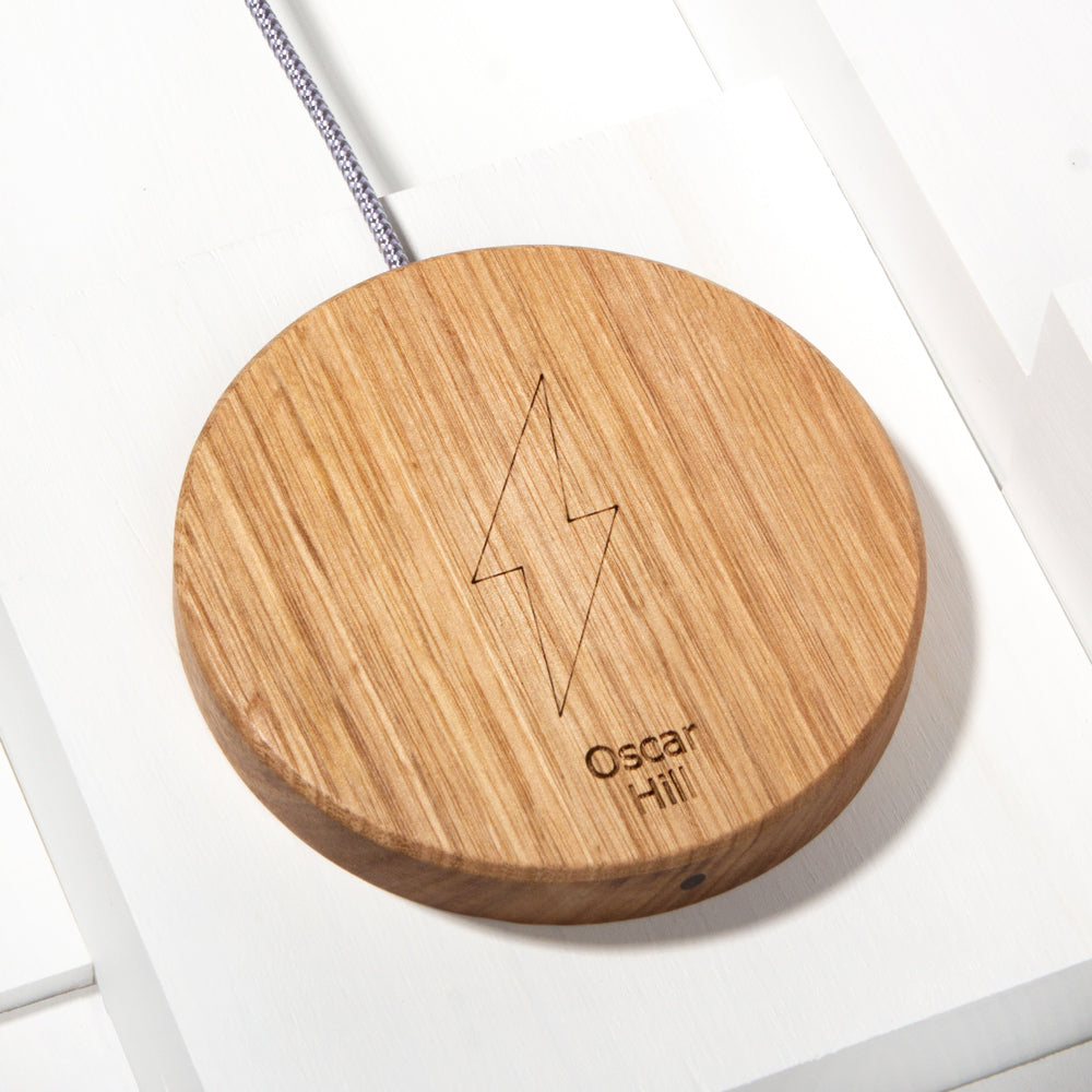 The Personalised Disc Wireless Charger in Tasmanian Oak