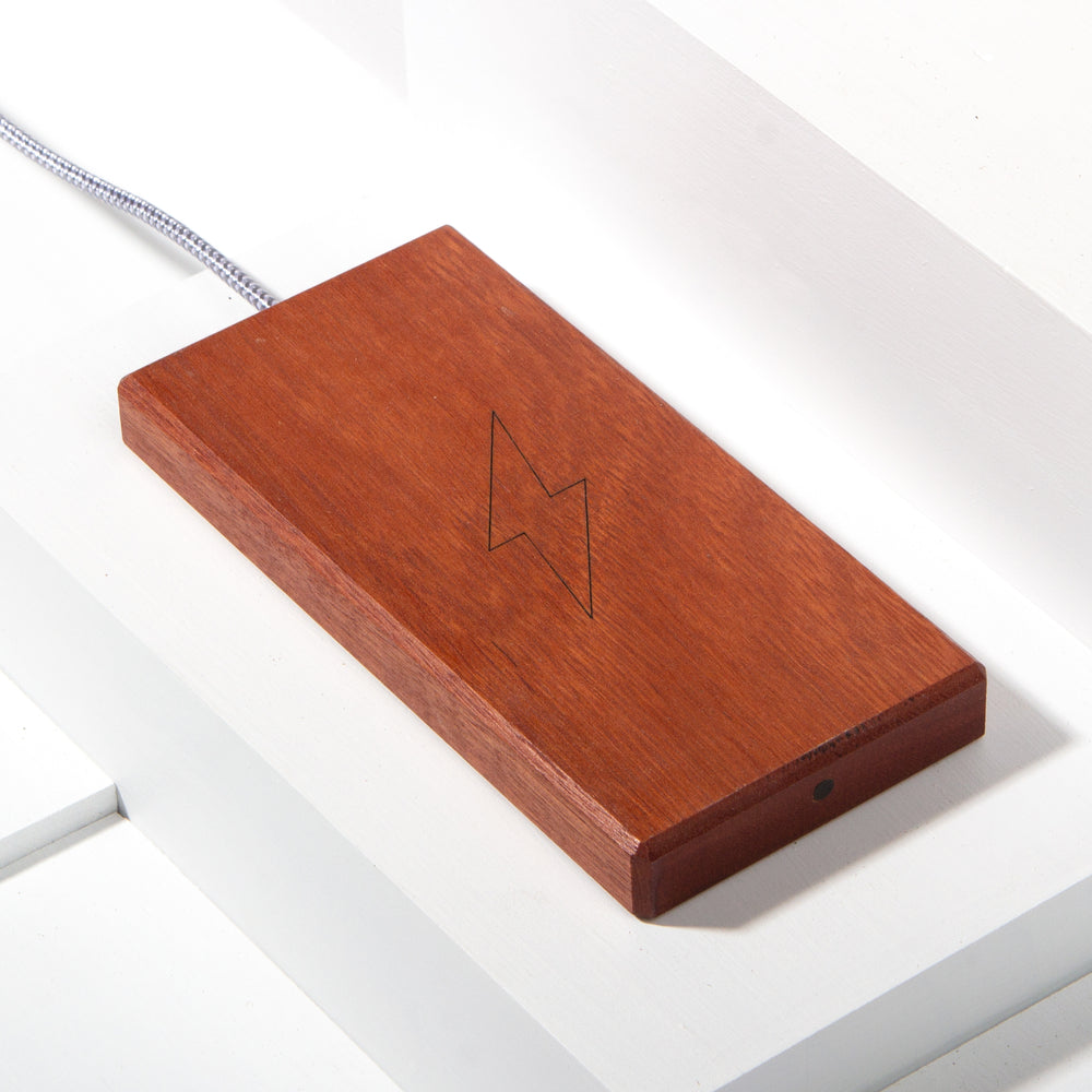 The Plank Wireless Charger in Jarrah