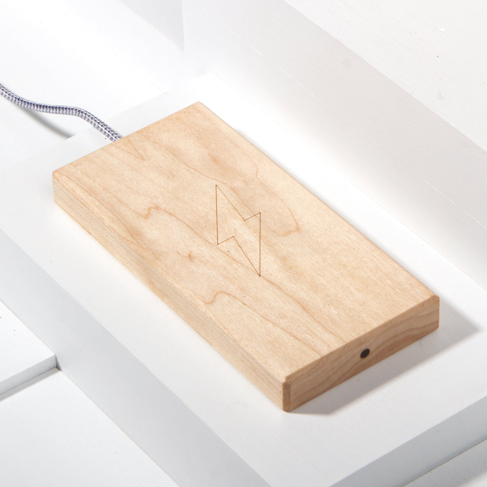 The Plank Wireless Phone Charger in Maple