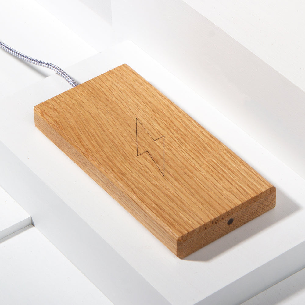 The Plank Wireless Charger in Oak