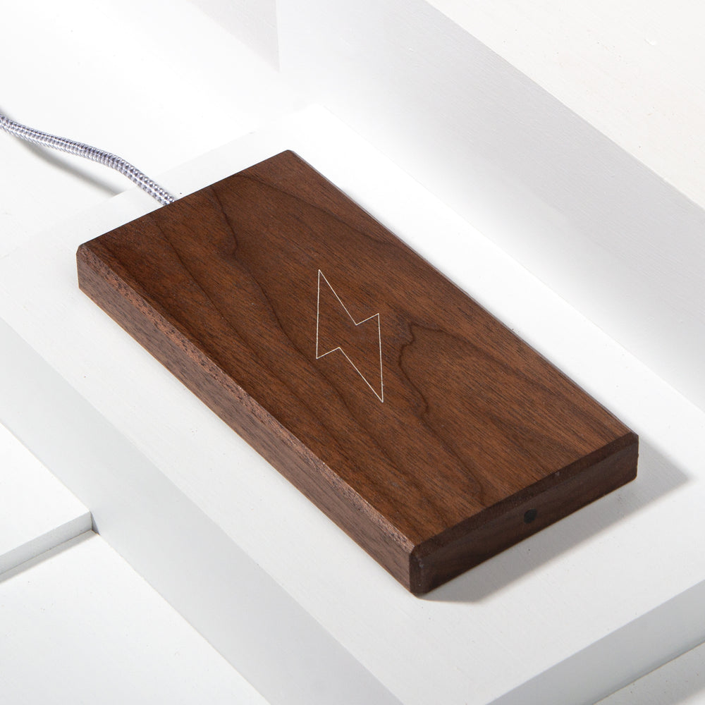The Plank Wireless Charger in Walnut
