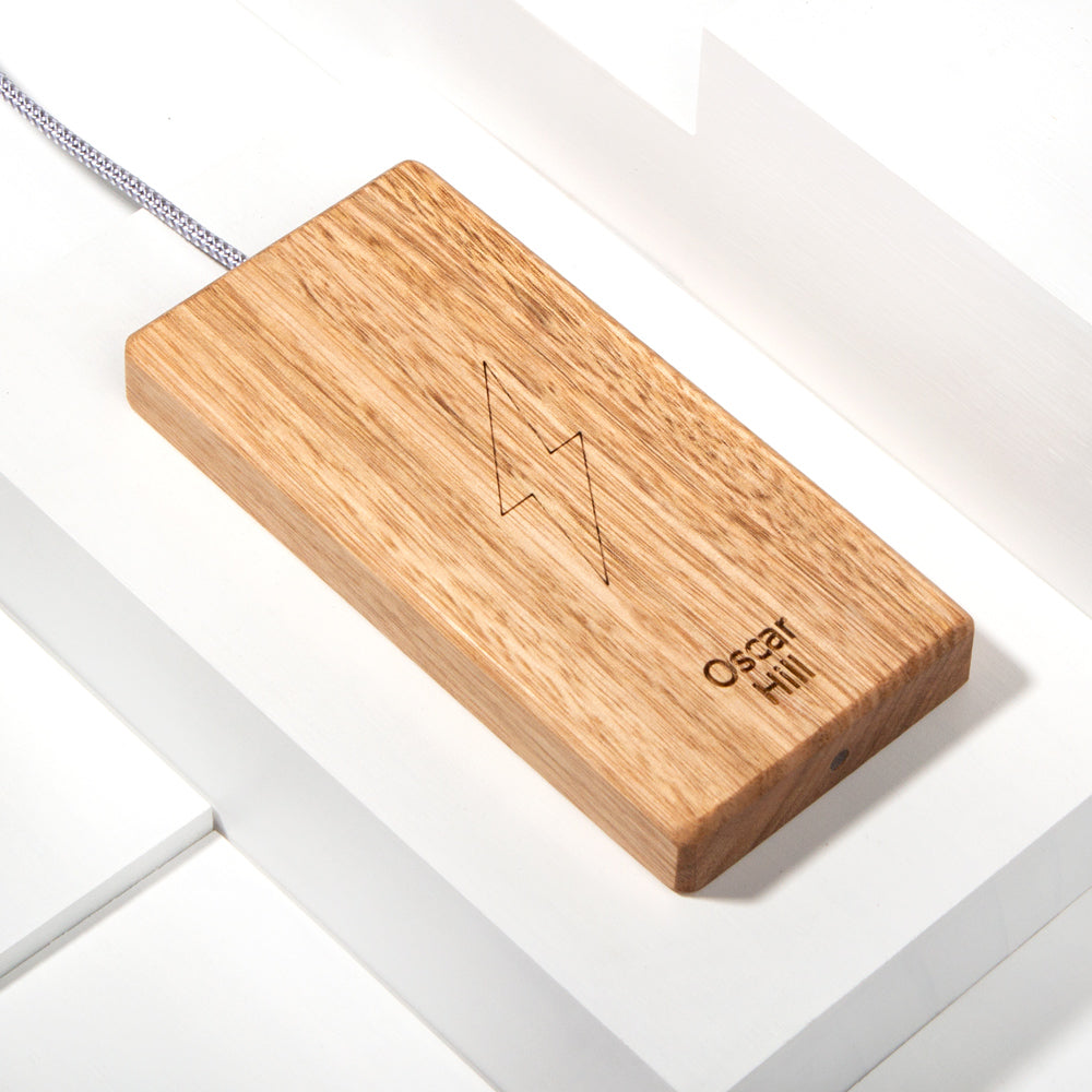 The Personalised Plank Wireless Charger in Tasmanian Oak