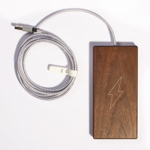 The Plank Wireless Phone Charger in Walnut with Cable