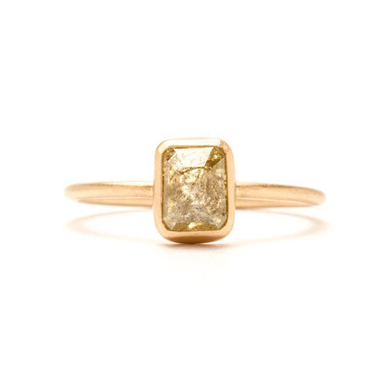 Shimmering Green Rectangle Rose-cut Ring