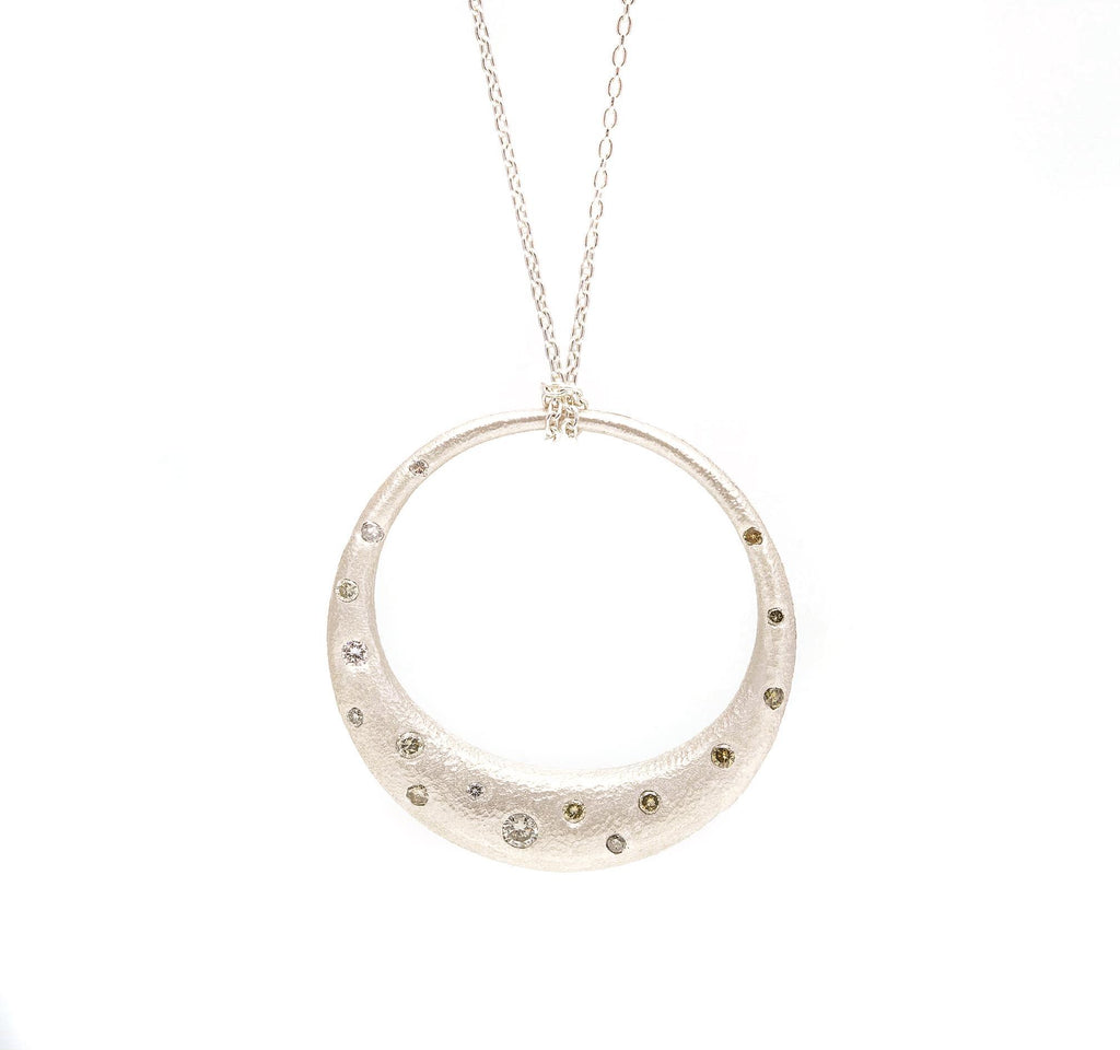 Sprinkle Diamond Large Open Circle Necklace, SS