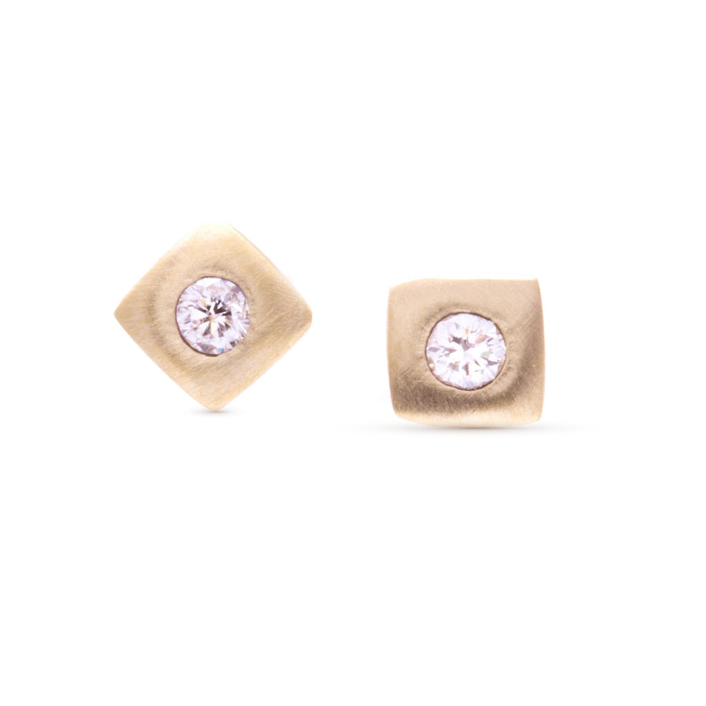 Tiny Smooth Square Diamond Studs