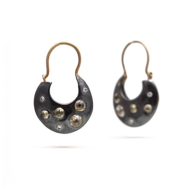Rose-Cut Diamond Crescent Earrings, Two-Tone
