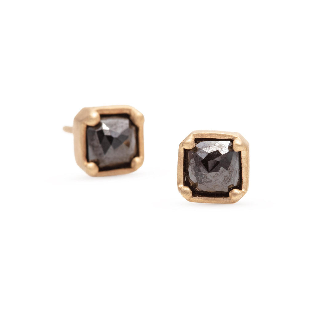 Square Rose Cut Black Diamond Studs