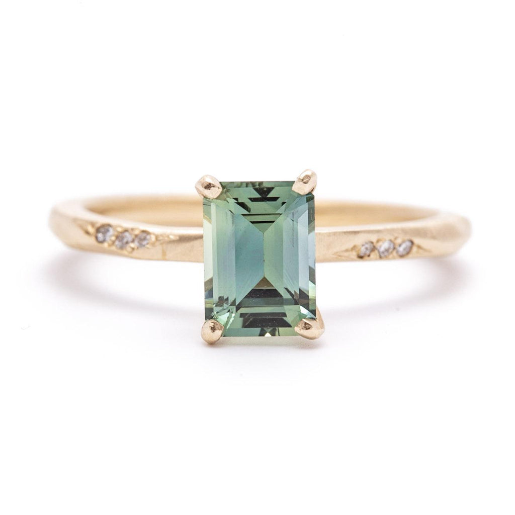 Moss Green Emerald Cut Sapphire Water Ring